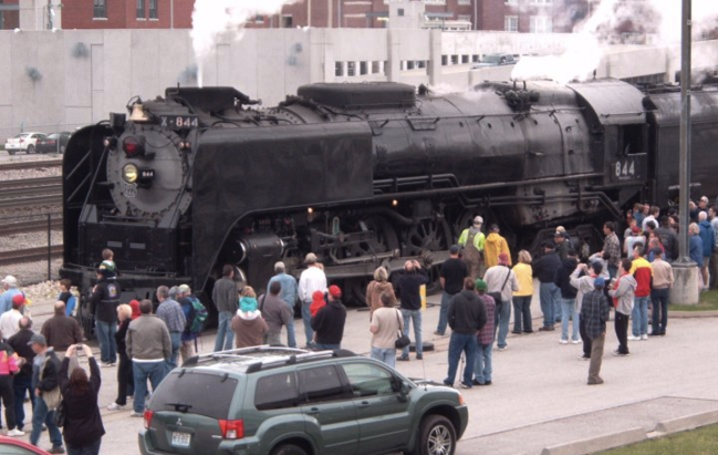 Union Pacific No. 844 has just arrived at Kansas City's Union Station, March 2010. Photo by John Cornett.