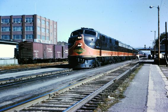 Illinois Central EMD E7 No. 4017 leads the City of New Orleans at Kankakee, Illinois, August, 1964.
