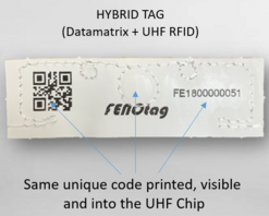 Fenotag Laundry Tag with EPC - Data Matrix and Human Readable Value