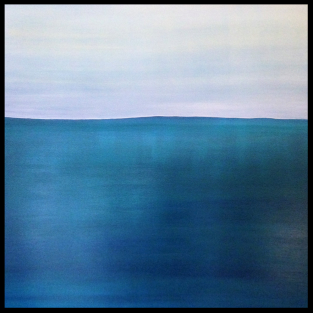Green-Blue View. 2018.100x100cm. Acrylic on canvas, varnished satin-matte. Blue Green Seascape Painting by Irish artist Orfhlaith Egan. Berlin, Germany