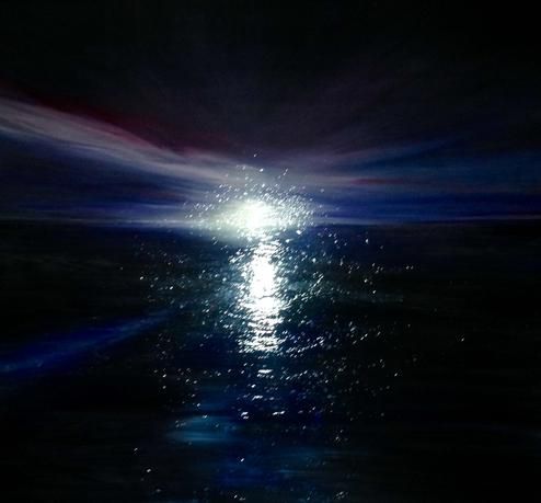 Water and Light. 2018. 80x80cm. Acrylic paint on canvas, high gloss finish. Varnished. Flash photograph. Seascape wave painting by Irish artist Orfhlaith Egan. For sale, please inquire for price.