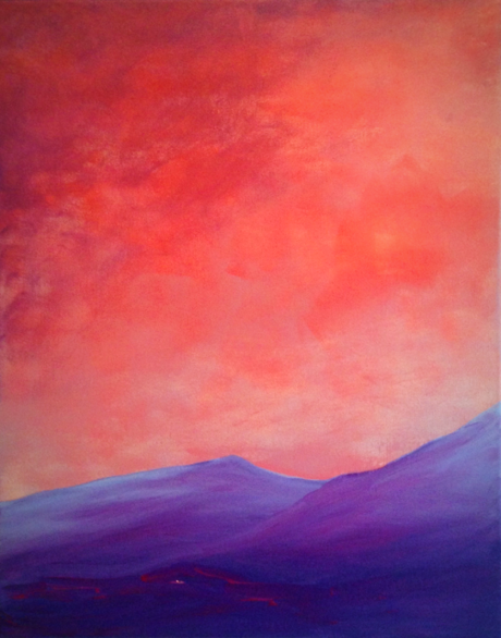 Deep Purple. 50x40cm. Re-imagined landscape painting. Acrylic on canvas by Irish artist Orfhlaith Egan. Berlin, Germany.