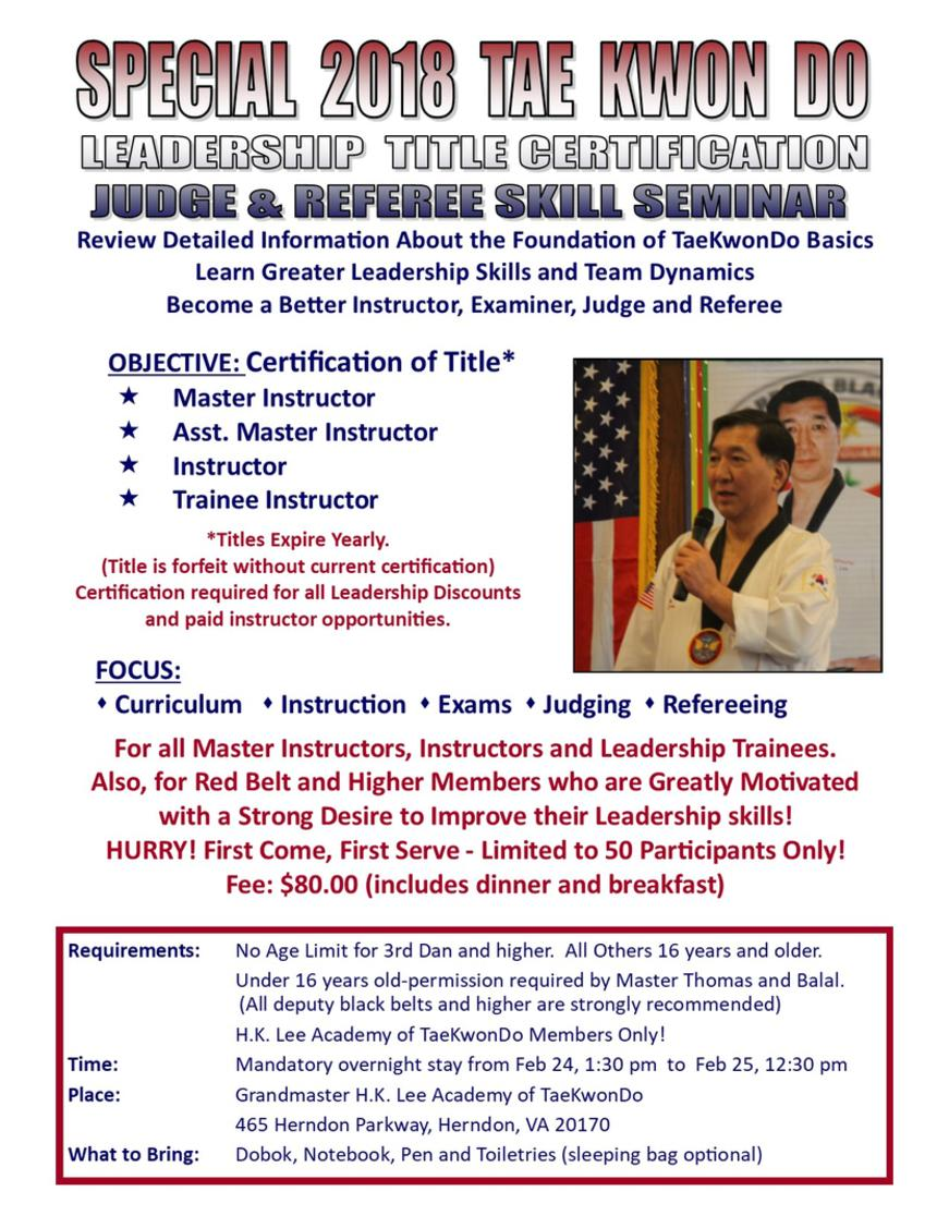 Special Leadership Certification, Judge and Referee Training