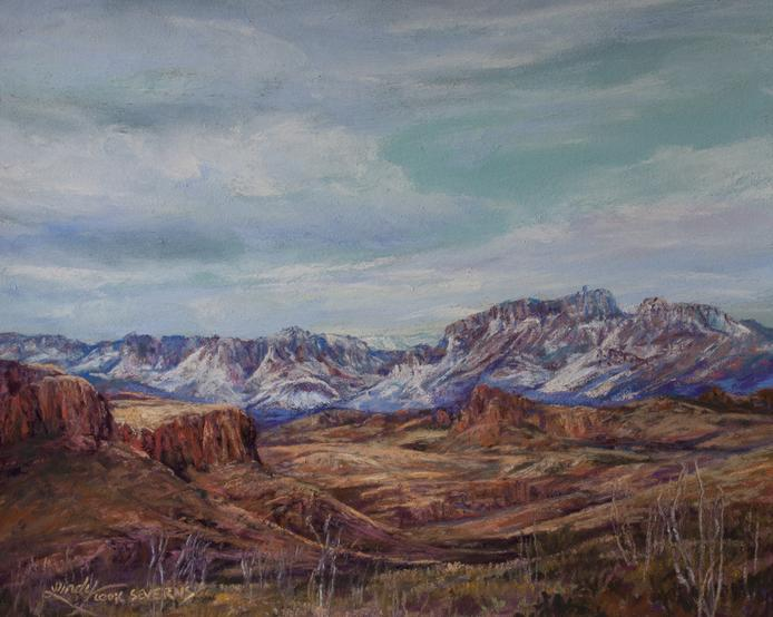 Winter Sky on the Rio Grande, original pastel landscape painting by Big Bend Artist Lindy Cook Severns. Winter on the River Road, Big Bend Ranch State Park. 8 x 10 miniature. Old Spanish Trail Studio, Fort Davis TX