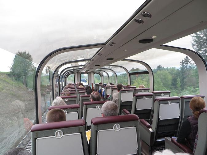 The interior of an Ultra Dome on the Alaska Railroad, circa 2014.