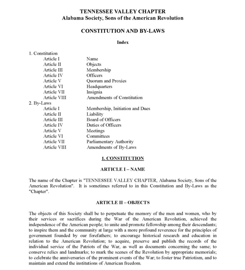 Constitution Bylaws - Constitution and bylaws template