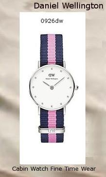 Product Specifications Watch Information Brand, Seller, or Collection Name Daniel Wellington Model number 0926DW Part Number 0926DW Model Year 2014 Item Shape Round Dial window material type Mineral Display Type Analog Clasp Buckle Metal stamp Stainless steel Case material Stainless steel Case diameter 26 millimeters Case Thickness 6 millimeters Band Material Nylon Band length women Band width 13 millimeters Band Color Pink Dial color White Bezel material Fixed Stainless Steel Special features measures-seconds Item weight 2.40 Ounces Movement Quartz Water resistant depth 100 Feet,daniel wellington