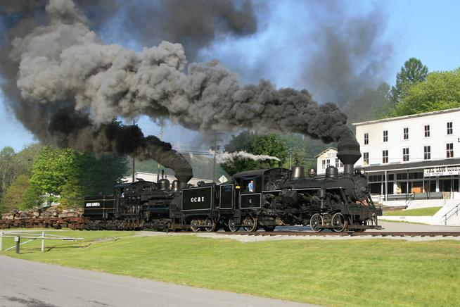 ass Scenic Railroad Heisler No. 6 along with Shay No. 11 lead a loaded log train down the former C&O mainline.