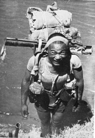 Gurkha crossing the Irrawaddy River in Burma