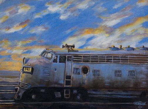 Painting diesel railroad locomotive