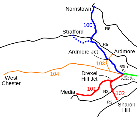 Map of the former Red Arrow trolley lines.