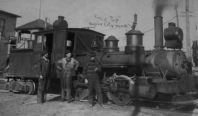 Postcard photo of the Boyne City, Gaylord and Alpena Railroad locomotive The Pup.