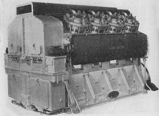 The Busch-Sulzer diesel engine was designed and built in the U.S.A. Shown here is the 8-cylinder version which developed 1,600 hp. The 10-cylinder version was used in the GE-Busch-Sulzer locomotive, and it developed 2,000 hp.