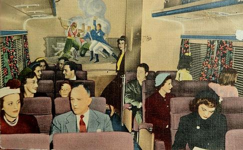 Interior of a Wabash Blue Bird coach car, circa 1950s.