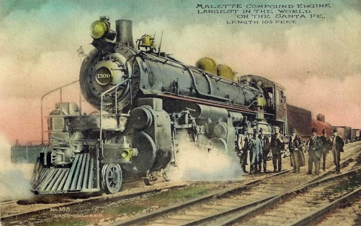 A hand-colored postcard featuring ATSF No. 1300, a class 1398 4-4-6-2 Mallet steam locomotive.