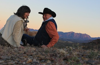 Big Bend Artist Lindy Cook Severns with Jim Severns and the Chisos Mountains of Big Bend National Park