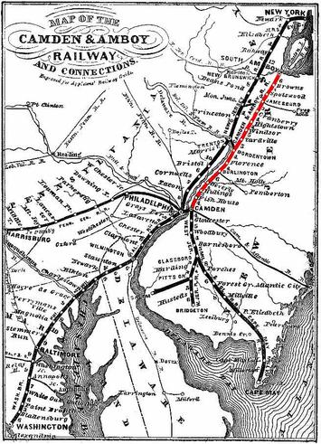 Map of the Camden & Amboy Railway and connections.