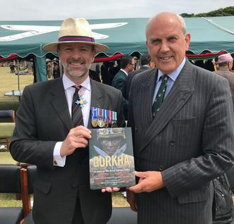 Craig Lawrence with the Director of the Gurkha Museum at the launch of the new Gurkha book
