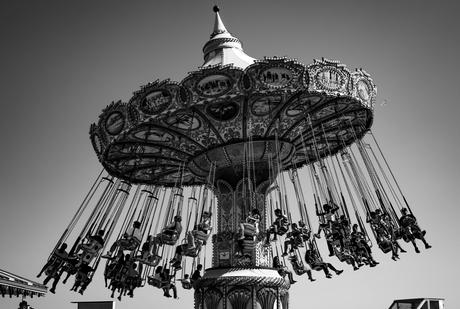 black and white caroussel picture