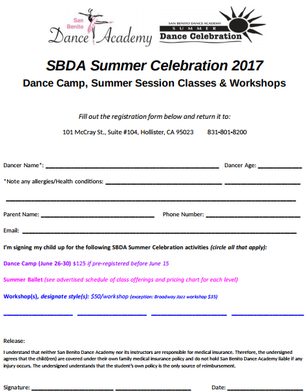 Click to download & print this registration form. Return to SBDA before June 15 for discounts!
