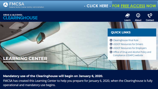 Go to DOT-FMCSA Clearinghouse Learning Site