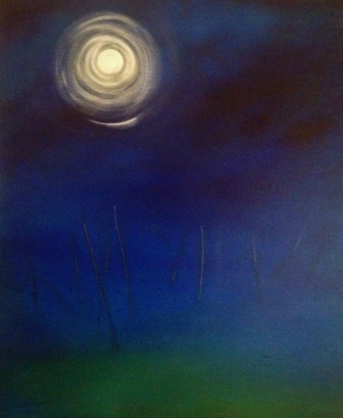 Landscape with Moon 2018. 60x50cm. Acrylic paint on canvas. Isolation coat. Varnished. Contemporary landscape painting by Irish artist Orfhlaith Egan. For sale, please inquire for price.