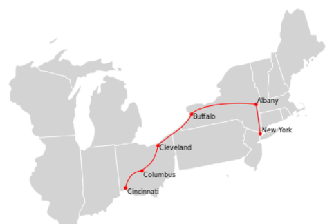 Ohio State Limited Route Map.