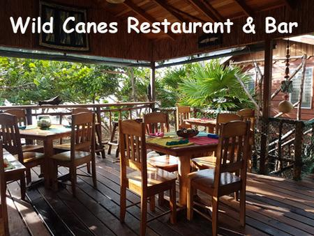 Seating in the on site restaurant, Wild Canes, at Leaning Palm Resort. Beach front restaurant serving local cuisine. All Inclusive Packages Available.