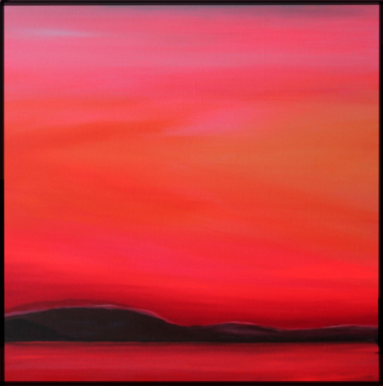 Evening on the Lake. 2018. 60x60cm. Acrylic on canvas, varnished matte. A Lake View painted by Orfhlaith Egan, Berlin and Cornamona.
