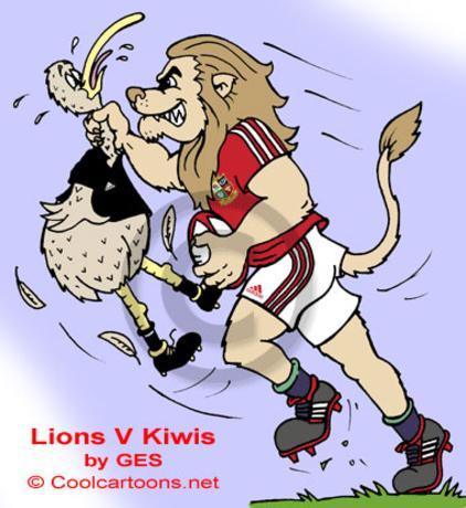 Lion and kiwi cartoon rugby players