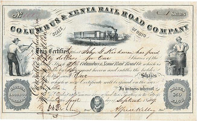 A stock share of the Columbus and Xenia Railroad Company, September 1, 1849.