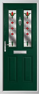 2 panel 2 square composite door in green