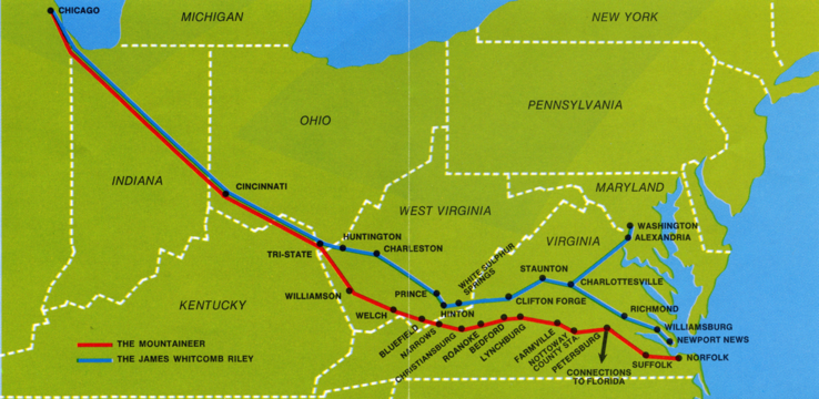 Route Map of the James Whitcomb Riley.