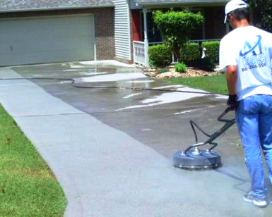 pressure washing of driveway, patio, and concrete performed by A1 Pressure Washing
