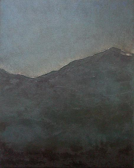 Mountains at Dusk. Original Nocturne Landscape Painting by Orfhlaith Egan. Berlin and Galway.