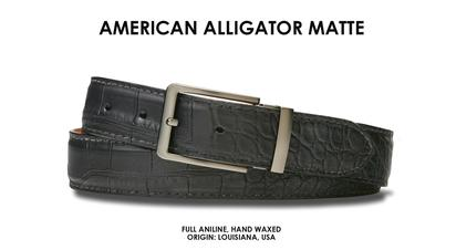 Our Genuine American Alligator Dress Belt is created from the noticeably-superior quality, consistently unblemished hides of Louisiana alligators found in the soft river beds. Wonderfully supple, the leather will grow softer and more lustrous as it ages.