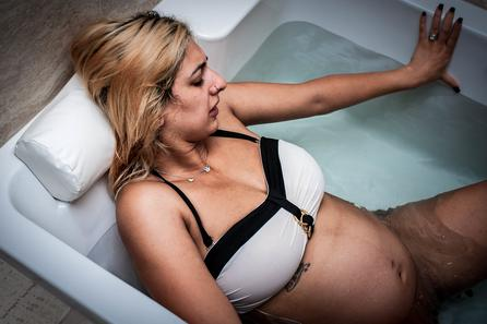 Birth photographer Jennifer Strilchuk captures woman in labour at an Abbotsford home birth