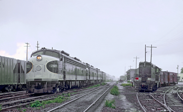 Southern EMD E8A No. 2927 with Train 38, The Crescednt, at Gainsville, GA in August 1967 . Photo by Roger Puta.