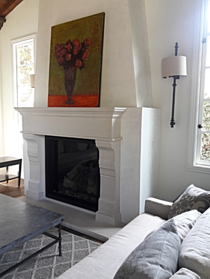 Cast Stone Fireplace Mantel with picture above