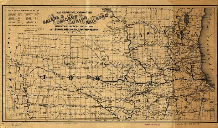 Galena and Chicago Union Railroad 1862 map.