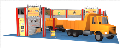 Double deck 50 x 40 trade show booth for Lift Hauling company back view.