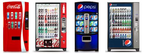 Vending machines, Aquafina, Dasani, Coke, Pepsi,