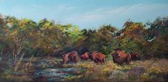 Serendipity, original wildlife pastel by Texas artist Lindy Cook Severns, Old Spanish Trail Studio, Fort Davis TX. American bison herd in Texas wildflowers