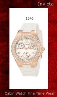 Watch Information Brand, Seller, or Collection Name Invicta Model number 1646 Part Number 1646 Model Year 2011 Item Shape Round Dial window material type Flame Fusion Display Type Analog Clasp Buckle Case material Stainless steel Case diameter 38 millimeters Case Thickness 12 millimeters Band Material Silicone Band length Women's Standard Band width 20 millimeters Band Color White Dial color White Bezel material Stainless steel Bezel function Stationary Calendar Day and date Special features luminous hands, sub-dials for day, date and seconds Item weight 15.84 Ounces Movement Japanese quartz Water resistant depth 99 Feet