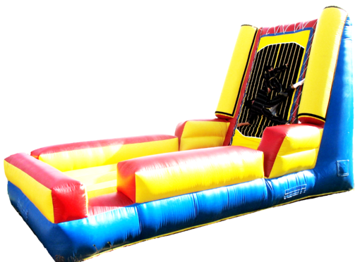 This is a fun filled interactive game for participants of all ages. Those participating bounce from an area onto a strong Velcro wall.