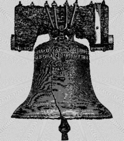 etching of Liberty Bell with op-art concentric circles over it