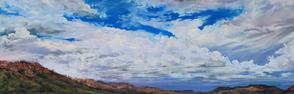 "Sky Weavings 7"" x 21"" pastel, Davis Mts ranchland skyscape Lindy C Severns"