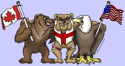 Cartoon animals rugby cartoon Canadian Bear British Bulldog American Eagle