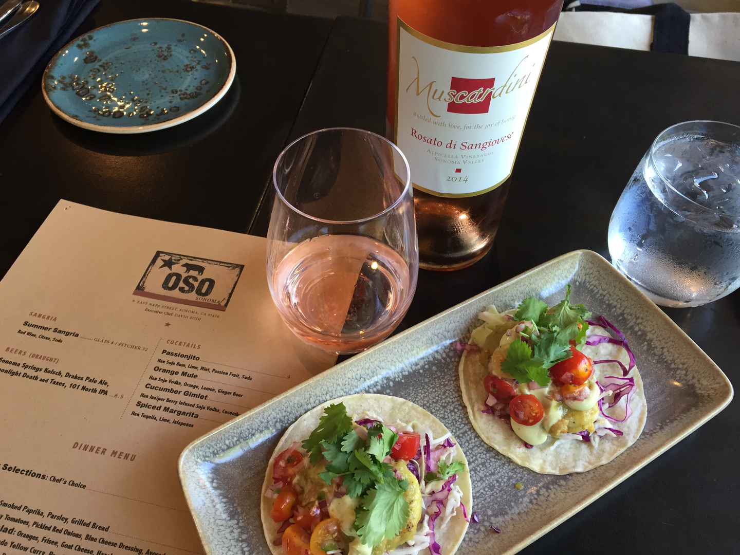 Fresh Fish Tacos with a Glass of Muscardini Rosato di Sangiovese