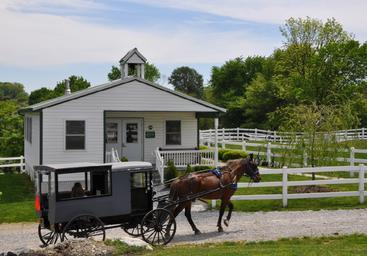 horse and buggy passing one-room schoolhouse